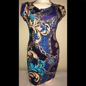 Nicki Minaj pattern blue bodycon dress